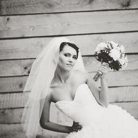 Beautiful caucasian brunette bride .