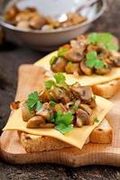 sanduíche de torrada com cogumelos, queijo e salsa, foco seletivo
