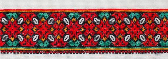 embroidered cross-stitch pattern. ukrainian ethnic ornament