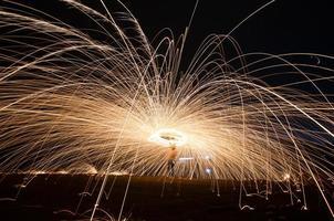 Burning steel wool fireworks