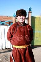 Mongol Wearing Traditional Del photo