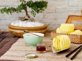 Traditional asian rice cake with honey