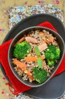 buckwheat groat with carrot bacon, and broccoli