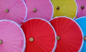Traditional Thai bamboo umbrellas photo