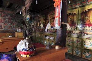 Interiores del monasterio budista, alrededor de mayo de 2011, Ladakh, India