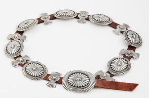 plata de ley, cinturón de concho nativo americano.