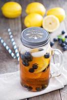 Ice tea with lemon and blueberries photo