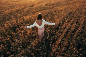 Beautiful brunette lady in wheat field at sunset photo