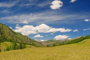 Highland meadow, sky and clouds in Altai mountains