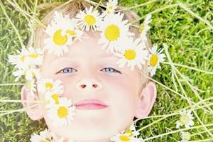 Young Blond Boy with a Daisy Crown photo