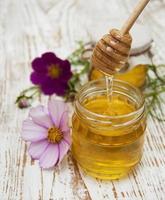 Honey with flowers photo