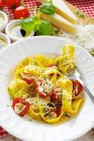 Pappardelle pasta with tomatoes and herbs