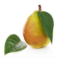 Pear with green leaves isolated on white background. photo