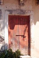 Traditional Greek door on Lefkada island, Greece photo