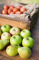 Table of fresh produce at market photo
