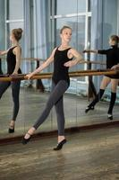 Young girls exercising during ballet class photo