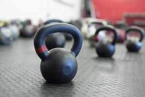 Kettlebells on Gym Floor photo