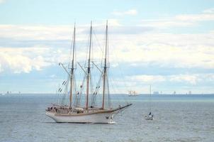 Vintage sailboat regatta in Helsinki.