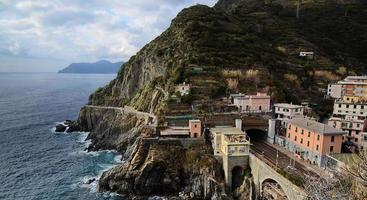 Italian coastline in Riomaggiore, Cinqueterre. photo