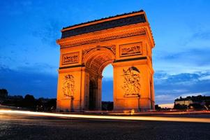 Arc de Triomphe at sunset, Paris, France