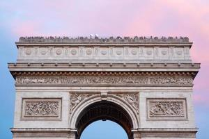 Arc de Triomphe in Paris, roof top with tourists photo