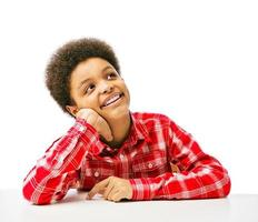 African American teenager dreaming photo