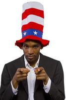 Black African American Man Dressed As Uncle Sam