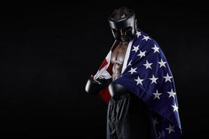Male boxer with American flag