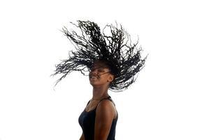 Young black teenager woman dancing