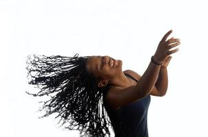 Young black teenager woman dancing