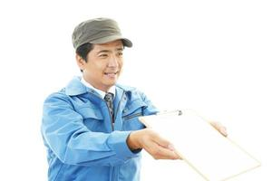 Smiling Asian worker photo