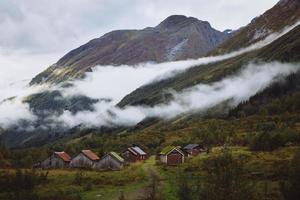 Small town with clouds - Jostedalsbreen National Park