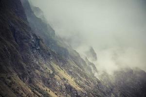 lofoten norway mountain with fog