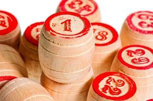 pile of wooden kegs for bingo closeup photo