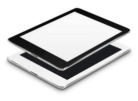 Realistic tablet computers with black and blank screens.