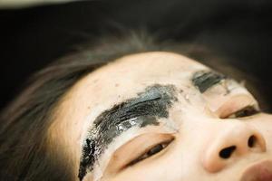 sobrancelha maquiagem, tatuagem, closeup muito rosto de mulher asiática