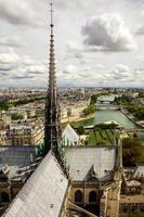 Panorama of Paris from the cathedral tower Notre Dame de Paris.