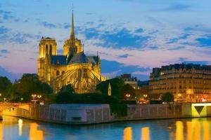 Notre Dame de Paris at night photo