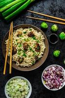 Asian chicken noodles salad