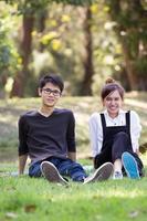 Aziatische student in park