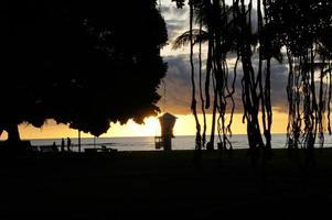 silhueta do parque de praia