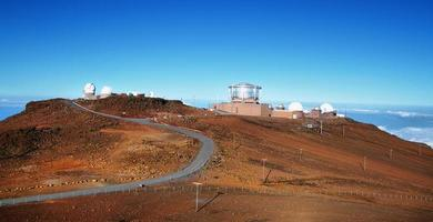 View of observatories from summit Haleakala volcano photo