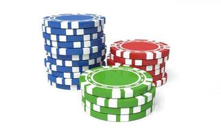 Three stacks of casino chips in blue red and green