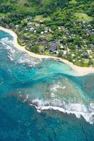 Aerial view of the Kauai shore in Hawaii