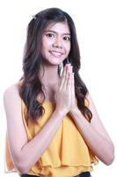Mujer tailandesa sawasdee. foto