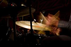 Drum set with focus on hi-hat cymbal photo