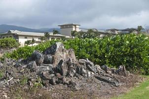 oude Hawaiiaanse begraafplaats en hotel op Maui
