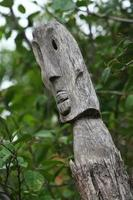 Polynesian Island Carved Wooden Totem pole