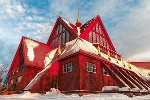 Church of Kiruna in Sweden during arctic winter photo