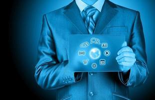hombre de negocios, presionar, icono, tableta de cristal